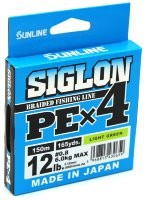 Плетёный шнур Sunline Siglon PEx4 150м #0,8/12Lb (Light Green)